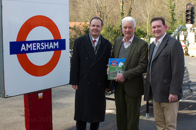 Thom Poole (l) pictures with John Hummerstone and Amersham Mayor Clive Morgan at the launch of the Amersham on the Hill book - 2018